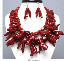 Plastic Dark Red Branch Sea Coral Multi Layered Bead Chunky Necklace Earring Set