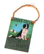 NEW Retro Mini Metal Border Collie Dog Saying Sign Hang Decoration 6.5x9cm NOP&P