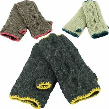 WOOL ARM WARMERS CABLE KNIT FINGERLESS GLOVES FLEECE LINED HAND WARM MITTENS
