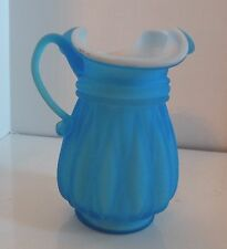 "A901 VINTAGE BLUE CASED SATIN GLASS PITCHER 5  1/4"" H."