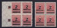 DR Mi Nr. 312 A + 312 B ** 4er Blocks, Infla Ziffer 1923, postfrisch, MNH