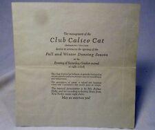 "Vtg Nightclub Announcement ""Club Calico Cat"" Cincinnati Beechmont Avenue"