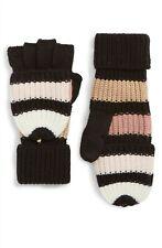 KATE SPADE New York Stripe Convertible Knit Mittens Peony Black $58 - NWT