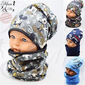 Boys Cotton Hat and Scarf Set Toddler Kids Cap Set 2 Piece Autumn Beanie Slouch