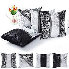 Black&Silver Large Crush Velvet Diamante Chesterfield Cushion Covers Decoration