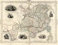 China Burma Peking Hong Kong Factory Ships Tallis 1851 decorative vignette map