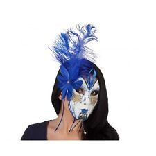 Party Mask Venetian with Blue Feather Perfect for Fancy Dress Christmas New Year