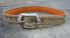M/L - Medium Width Faux Leather Belt womens with animal print solid metal buckle