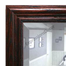 Custom Stamped Walnut Beveled Wall Mirror, Mantle & Bathroom Mirror Art Decor