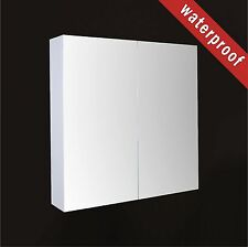 900mm Waterproof Bathroom Shaving Mirror Vanity Cabinet Gloss White Wall Mounted