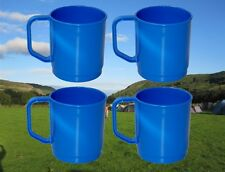 4 X CAMPING MUGS BLUE STRONG PLASTIC PICNIC DRINKING TEA COFFEE CUPS SET RY641
