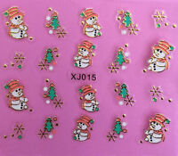 Christmas Tree GOLD Snowflakes Snowman with Hat  3D Nail Art Stickers Decals