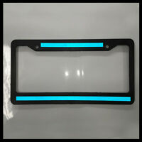 Double Blue Line License Plate thin Frame REFLECTIVE police tag holder safety
