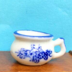 Dollhouse Miniature  Porcelain Blue & White Potty