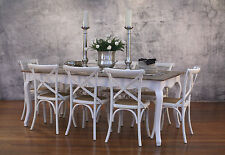 Setting 9 PIECE 2x1m Dining Table & Cross Back Chairs French Provincial Package