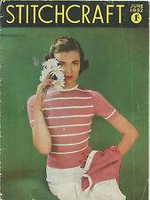 STITCHCRAFT MAGAZINE JUNE 1952 VINTAGE ORIGINAL CRAFT SEWING KNITTING PATTERNS