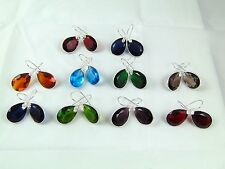 "925 SILVER MULTI COLORS QUARTZ 1.5"" HOOK EARRINGS 10 PCS OVERLAY WHOLESALE LOTS"