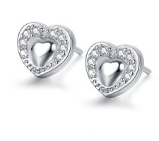 925 Sterling Silver Puffy Heart Micro-paved Cubic Zirconia Stud Earrings Gift J2