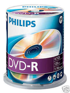Philips DVD-R 4.7 GB, 16x Speed, Spindle 100 Stück