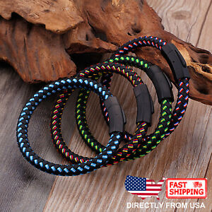 Men's Jewelry, Stainless Steel and Braided Leather Wristband Bracelet