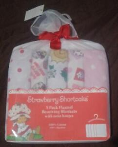NEW STRAWBERRY SHORTCAKE BABY 5IN1 FLANNEL WITH SATIN HANGER 100% COTTON