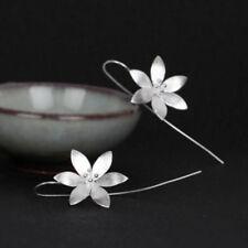 Silver Plated Long Drop Dangle Hook Lotus Flower Earrings Jewelry for Women Gift