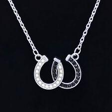 1X Rhinestone Double Horse Hoof Horseshoe Pendant Necklace Jewellery Black White