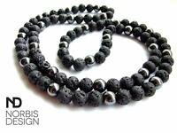 Men's Necklace Hematite/Lava Natural Gemstone 30inch Pouch Healing Stone Chakra