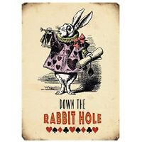 9cm Mini Metal Novelty Retro Vintage Rabbit Hole Plaque Signs Home Garden