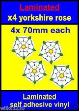 Laminated 4x 70mm Yorkshire Rose decal car Scooter stickers vespa flag