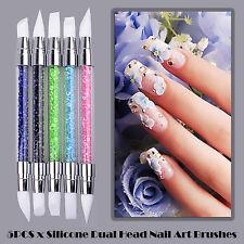 5PCS x Silicone Dual Head Nail Art Brushes Craft Carving Powder Pen Tools