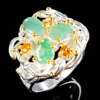 Handmade Natural Emerald 925 Sterling Silver Ring Size 9/R114856