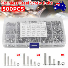 500pc M3 M4 M5 304 Stainless Steel Hex Socket Button Head Bolts Screws Nuts Kit