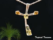 Baltic Amber Cross & 925 SOLID Silver Pendant & chain    #196116
