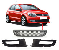 FOR VW POLO 6R 2009 - 2014 NEW FRONT BUMPER LOWER CENTER GRILLE FULL SET