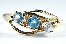 Women's 10k Solid Yellow Gold Natural Topaz 3 Stone Ring 2/3 tcw