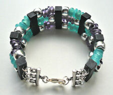 Beaded Cuff BRACELET Memory Wire Purple Turquoise Glass Black Silver   KCJ2866