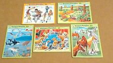 Vtg 1999 Lot 5 Patch Puzzles 25 Piece Age 3-7-Dogs, Horses, Sports, Garden, Sea-