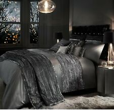 Kylie Minogue Bedding Zander Silver Grey Velvet Super King Bed Duvet Quilt Cover