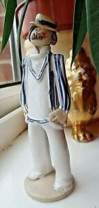 Vintage Hand Made Studio Pottery Laura Dunn Gentleman in Boating Outfit 1986