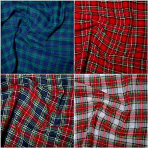 100% Brushed Cotton winceyette Soft Tartan Fabric - 150cm wide 4 designs