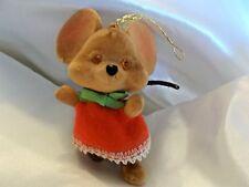 Vintage Flocked Girl Christmas Mouse Holiday Decor