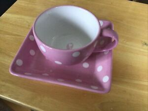 Pampered Chef Help Whip Cancer Polka Dot Large Mug And Lunch Plate 1 Of 3