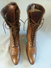 Antique Vicrorian Ladies Leather Boots Tan Lace Up Santa Rosa California