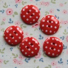 15 Botones Con Lunares Rojos 15 mm