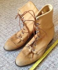 Men's 7 Womens 9 Laredo Classic Lace Up Cowboy Boots Tan Soft Genuine Leather