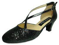 HORUS 202 scarpe da ballo donna tacco 50/C nere basse lucide brillantini