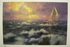 "Thomas Kinkade ""Perseverance""  Sailboat, DNA Signed, Lithograph, G/P Edn. 18x27"