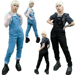 Run & Fly Blue Stone Wash & Black Stretch Cotton Dungarees