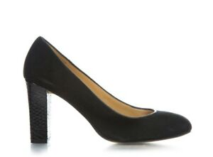 TALBOTS Heels 8.5 Suede Leather Black Round Toe Block Chunky Pumps 38.5 Classic